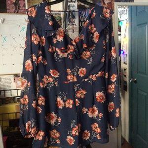 Navy Blue Orange Flowers Flowy Romper with Zipper